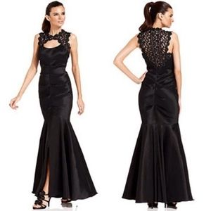 XSCAPE Metallic & black lace mermaid gown